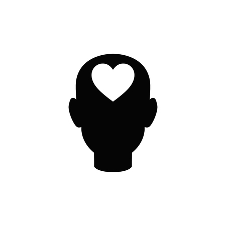 Human head with heart vector icon.