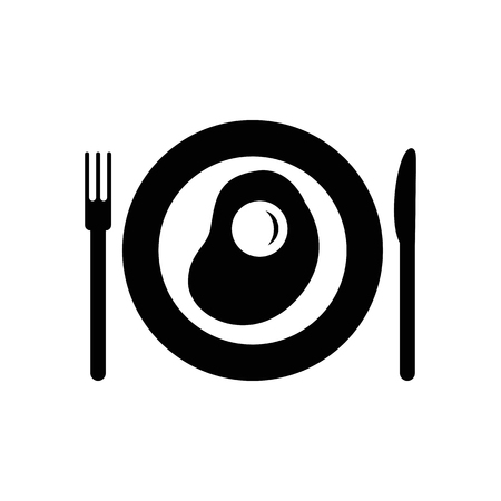 Plate with fried egg vector icon. Illustration