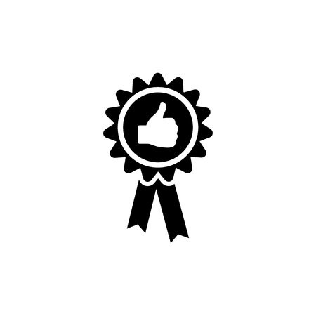 Badge with thumbs up vector icon.