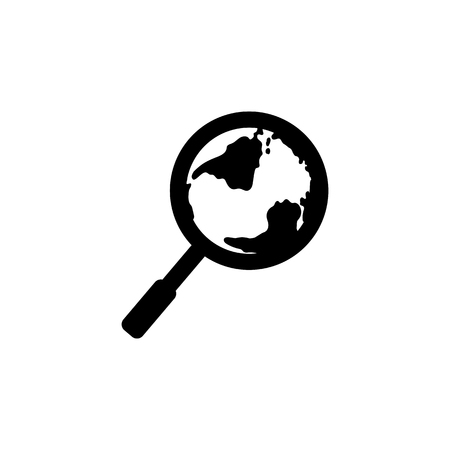Global search vector icon. World globe symbol. Earth with magnifying glass search icon. Standard-Bild - 114801798