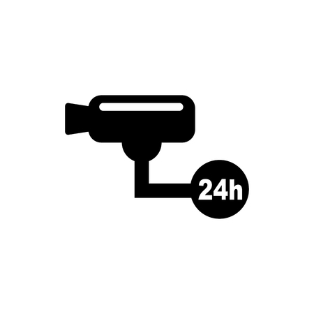 Surveillance camera (CCTV). Warning vector icon.