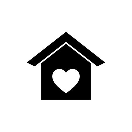 Casa con icono de vector de corazón. Ilustración de vector