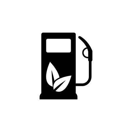 Gas station icon with leaves vector icon. Eco fuel symbol. Illustration