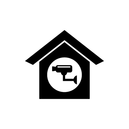 House with camera vector icon.