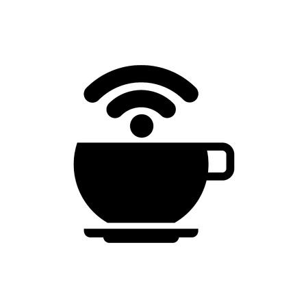 Free Wi-Fi zone vector icon. Cup with wireless signal.