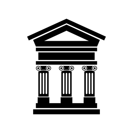 Portico an ancient temple. Bank. Official Place with the building facade with three pillars. Vector illustration. Иллюстрация