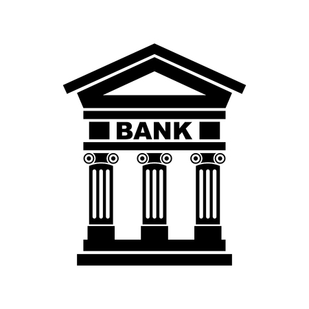 Bank icon with the building facade with three pillars. Vector.