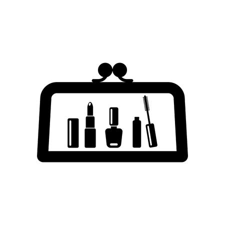 Make up bag with cosmetics vector icon. Ladies handbag icon.