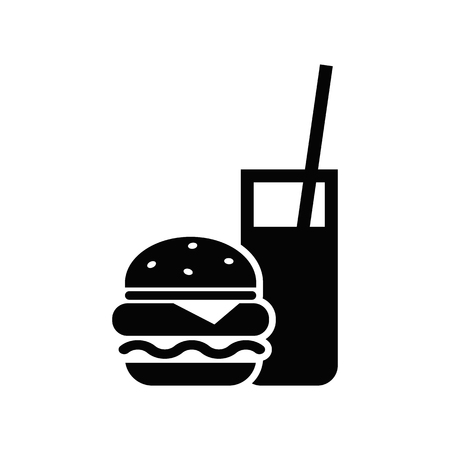 Burger with soft drink vector icon. Standard-Bild - 114801887