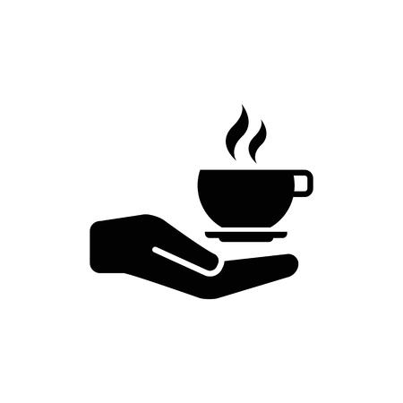 Hand with coffee cup vector icon.