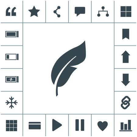 Feather flat design illustration. Retro pen symbol. 矢量图像