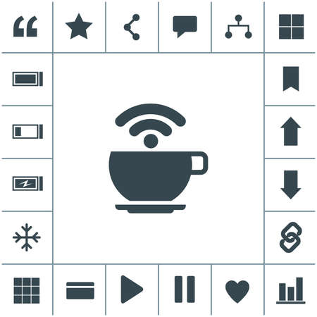 Free WiFi zone vector icon. Cup with wireless signal.