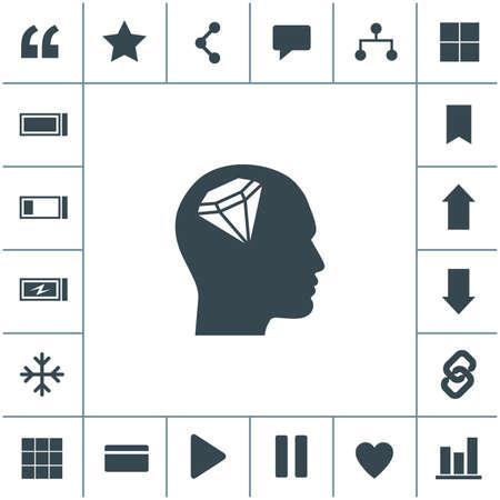 Human profile with diamond vector icon. 矢量图像