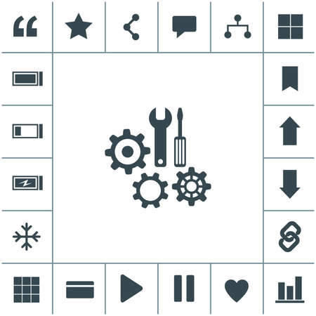 Repair tool vector icon. Service symbol. Gear, screwdriver and wrench. 矢量图像