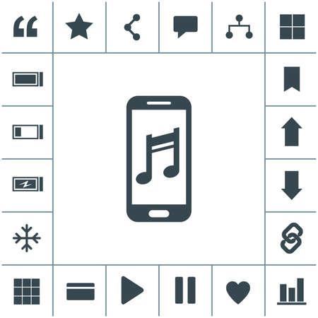 Smartphone with music symbol vector icon. 矢量图像