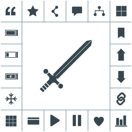 Sword flat design illustration. Simple vector icon.