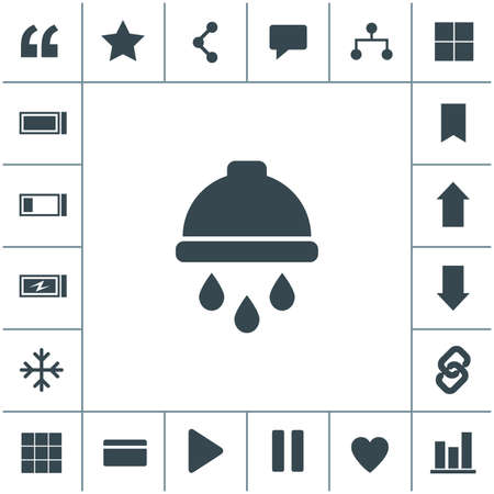 Shower with water flat design illustration. Simple vector icon.