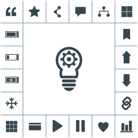 Bulb with gears and cogs icon. Idea symbol. Light lamp vector icon. 矢量图像