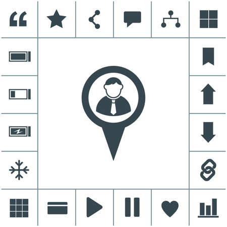 Map pointer user sign icon.