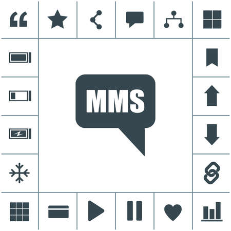 MMS cell phone text message flat design illustration. Simple vector icon.