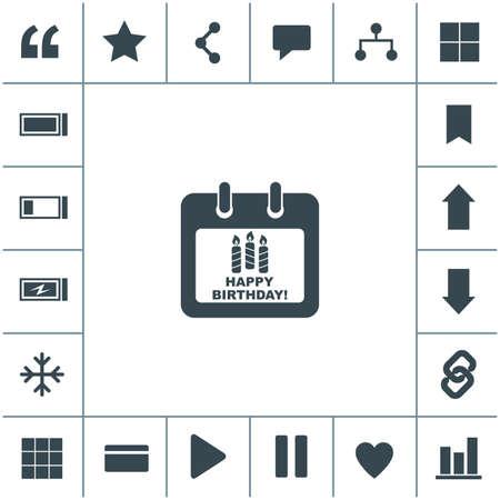Calendar Icon. Happy Birthday icon. 矢量图像