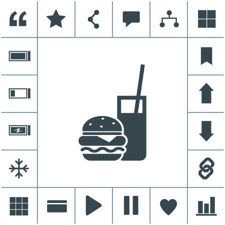 Burger with soft drink vector icon. 矢量图像