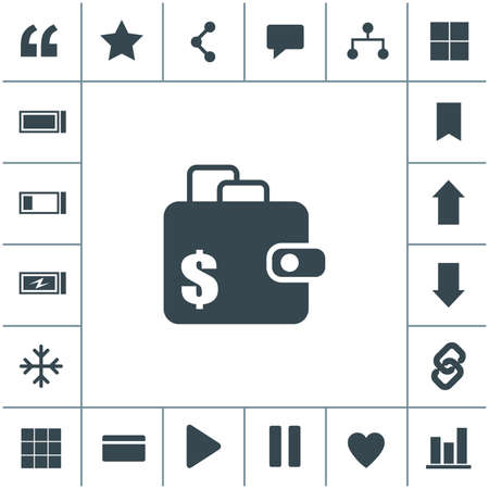 Purse vector symbol. Wallet flat design illustration. Simple vector icon.