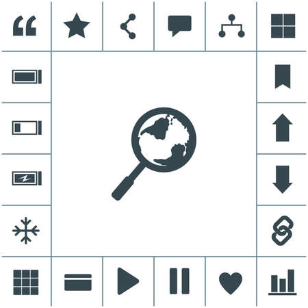 Global search vector icon. World globe symbol. Earth with magnifying glass search icon.