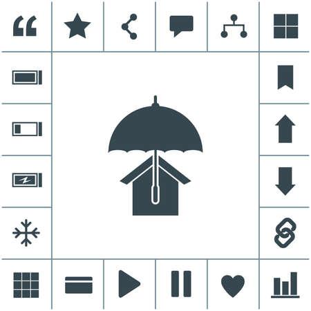 House with umbrella vector icon. Real estate symbol.