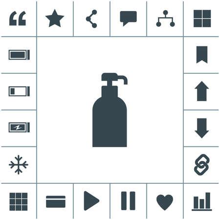 Gel, foam or liquid soap dispenser pump plastic bottle. Vector icon.