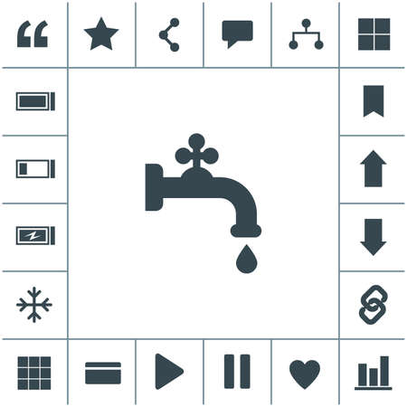 Faucet with water drop vector icon. Vector tap symbol. Dripping tap icon.