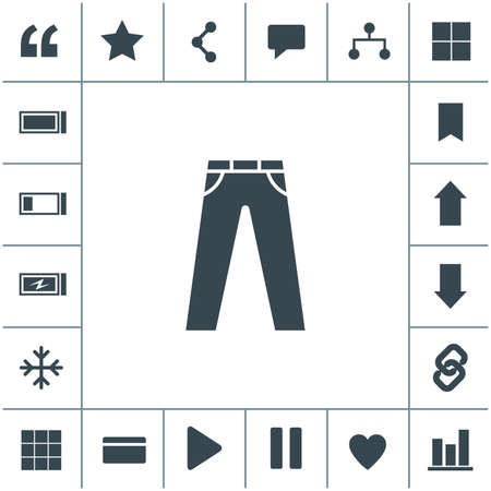 Men's jeans or pants vector icon. 矢量图像