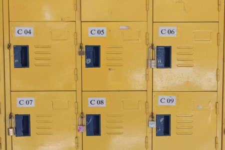 lockers: yellow lockers in school Stock Photo