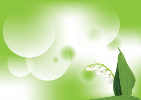illustration with lily-of-the-valley on green background eps 10