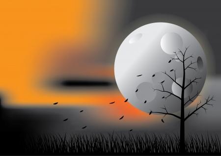autumn, night, moon, background, sky, light, nature, season, illustration, tree, moonlight, Illustration