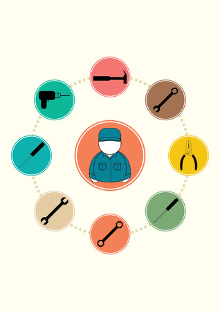 hammer, tool, work, wrench, repair, construction, equipment, icon, screwdriver, isolated, industry,