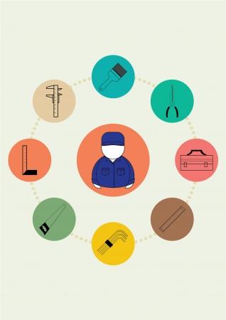 mat�riel chantier: marteau, outil, travail, cl�, r�paration, construction, �quipement, ic�ne, tournevis, isol�, de l'industrie,