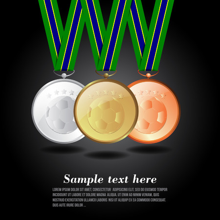 Vector illustration of Gold, silver and bronze medal Sport Vector