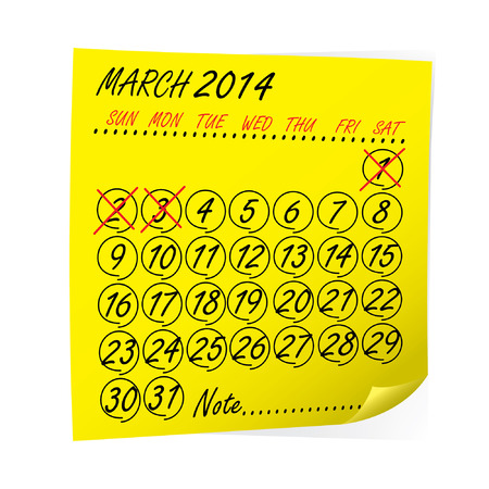post it note: post it giallo nota con Calendario Marzo 2014