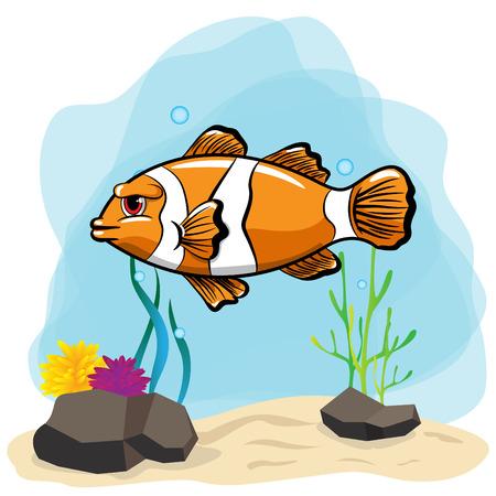 Beautiful nemo fish with undersea Illustration