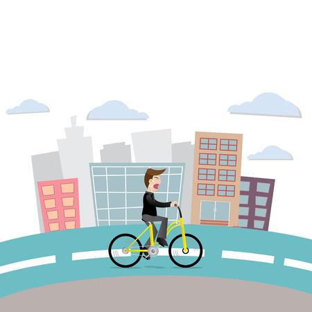 Businessman drive bike go to work late