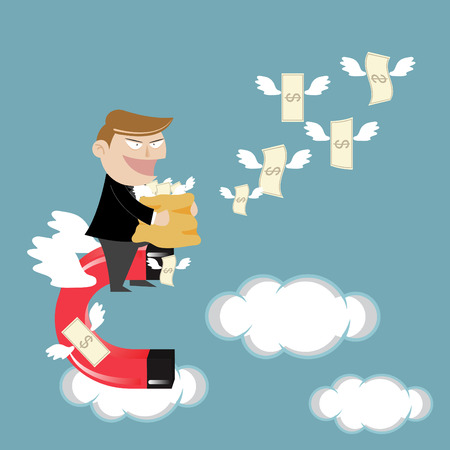 strong magnetic field: Businessman flying attracts money with magnet Illustration