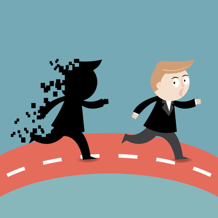Businessman running away from shadow fail Illustration