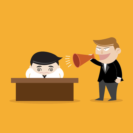 reprimand: Businessman Shouting with megaphone Illustration
