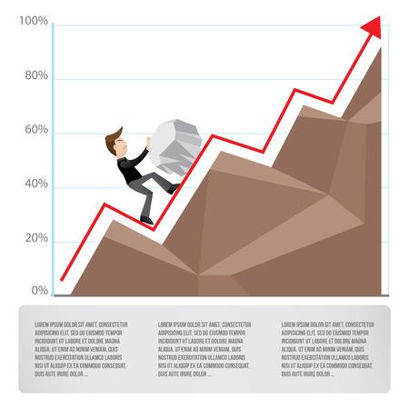 pinnacle: Biznesmen walka o sukces wyzwań Ilustracja