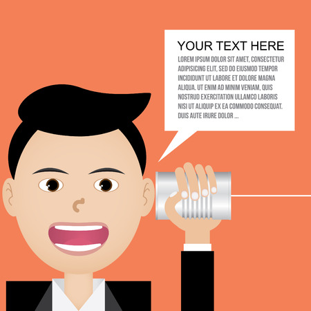 businessman talking with tin can telephone Vector