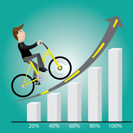 Businessman with bicycle climber success Illustration