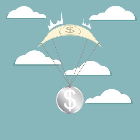 Financial Crisis, dollar with parachuting Vector