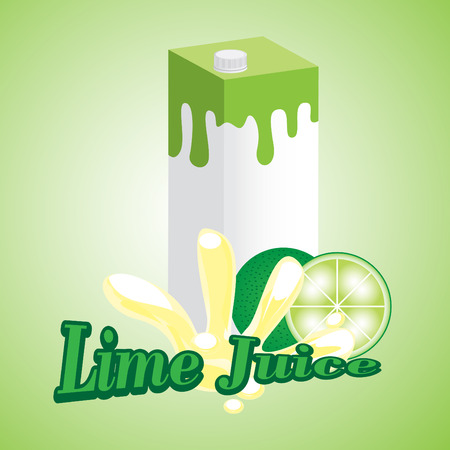 Lime Juice cartons with screw cap Illustration