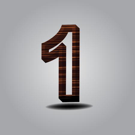 number 1 wood on grey background Illustration